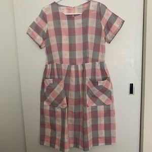 Pink/gray/white plaid vintage 60's dress. Size L